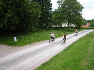Cyclists mountainbiking in Dalby Forest