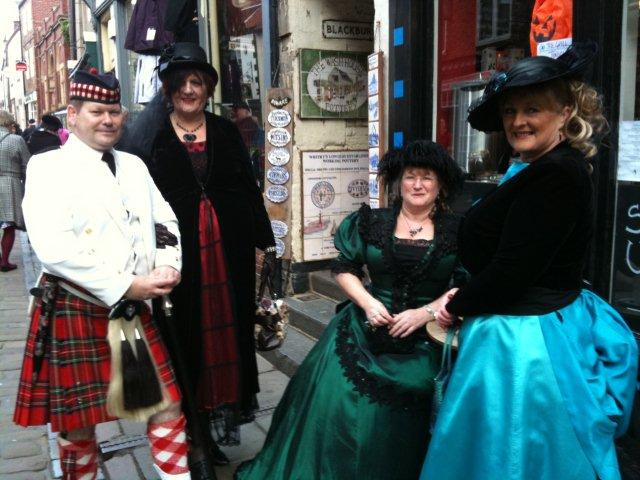 Photo of Goths taking afternoon tea on Whitby Gothic Weekend