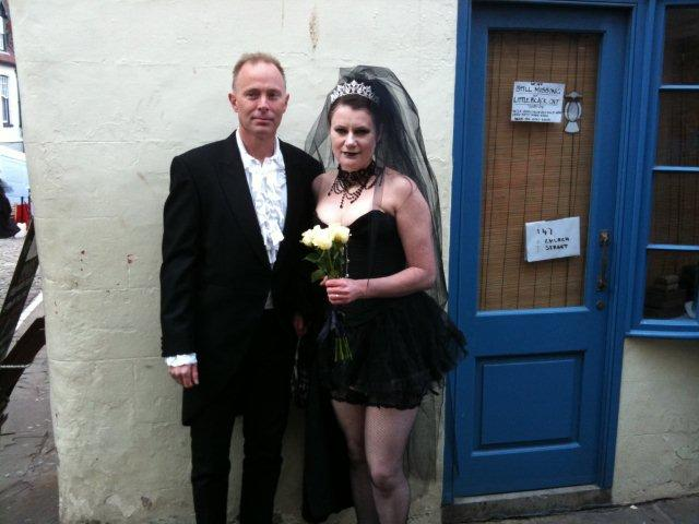 Photo of a Gothic couple perhaps bride and groom
