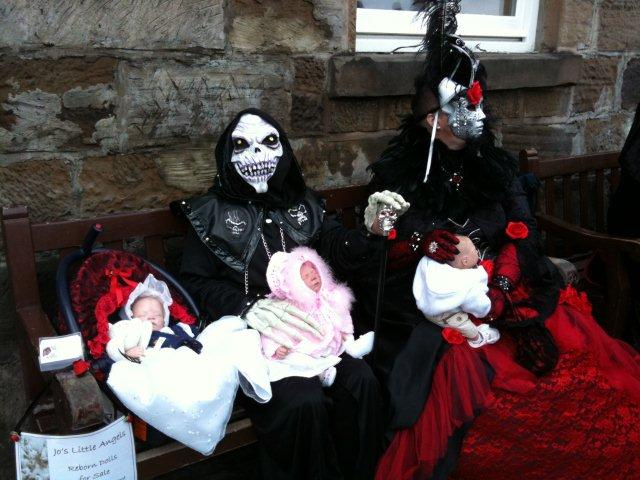 Photo of realistic  hand made babies at Gothic Weekend 
