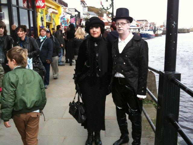 Photo of Gothic couple near Whitby Harbour