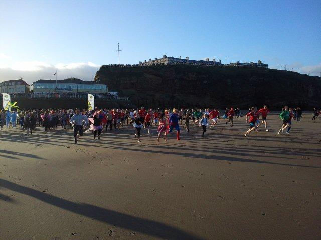 Line up of participants in the Boxing Day Dip