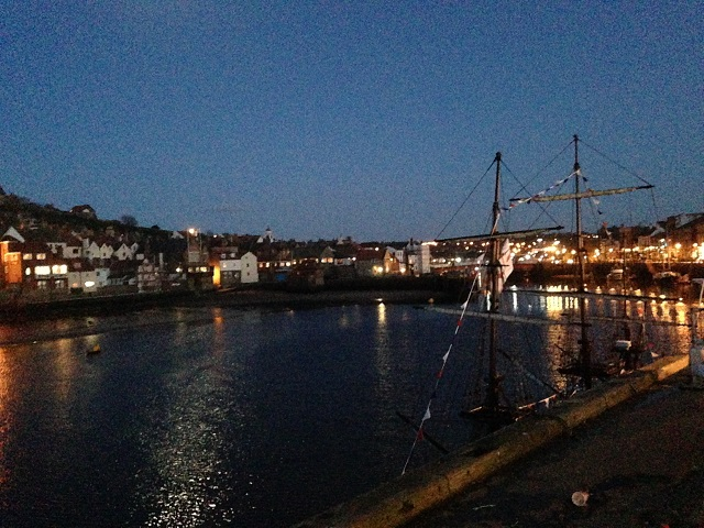 photo of Whitby Harbour at night