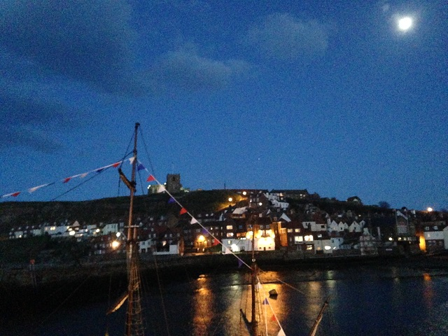 Photo of Whitby harbour by moonlight