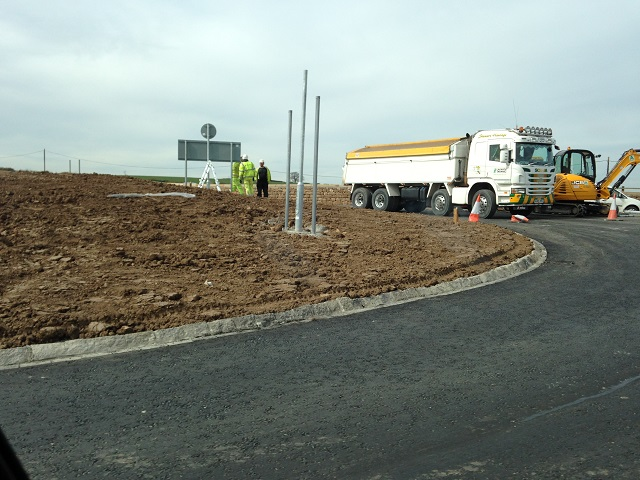 Photo of new roundabout for the park and ride