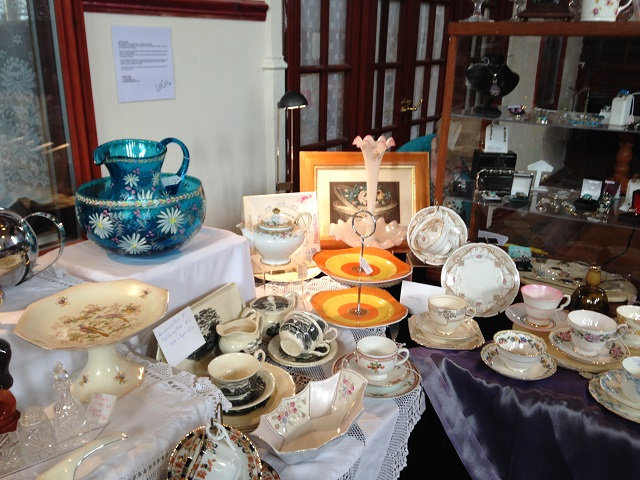 photo of glass and china stall